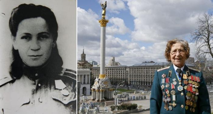 94-летняя Валентина на Площади Независимости в Киеве.
