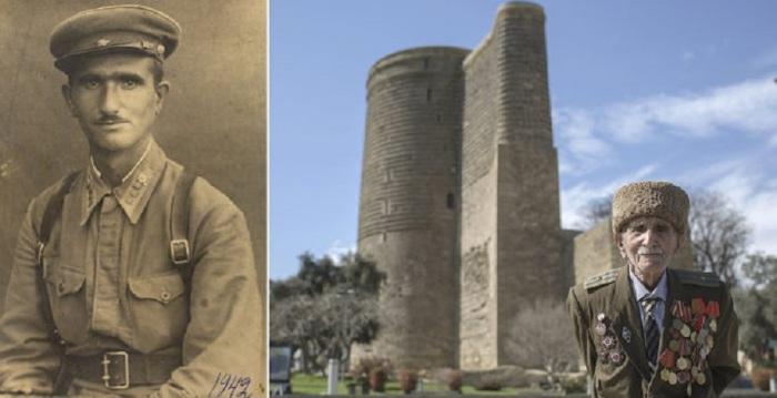 102-летний Аллахверди на фоне Девичьей башни в Баку.