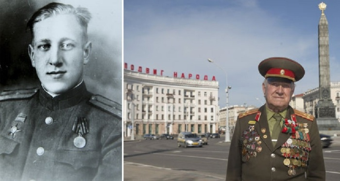 92-летний Николай на площади Победы в Минске.