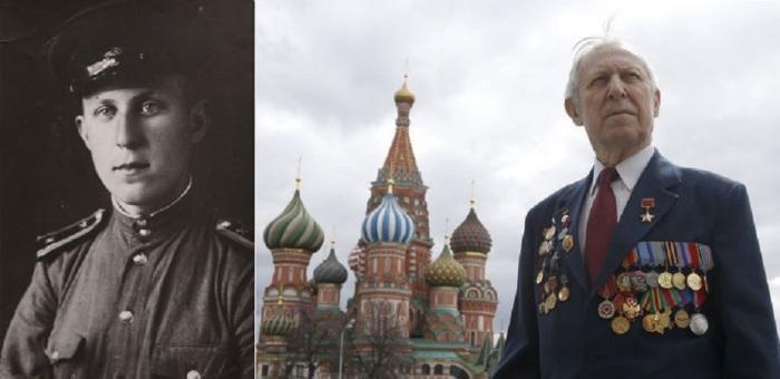 89-летний ветеран войны Борис Рунов на Красной площади в Москве.