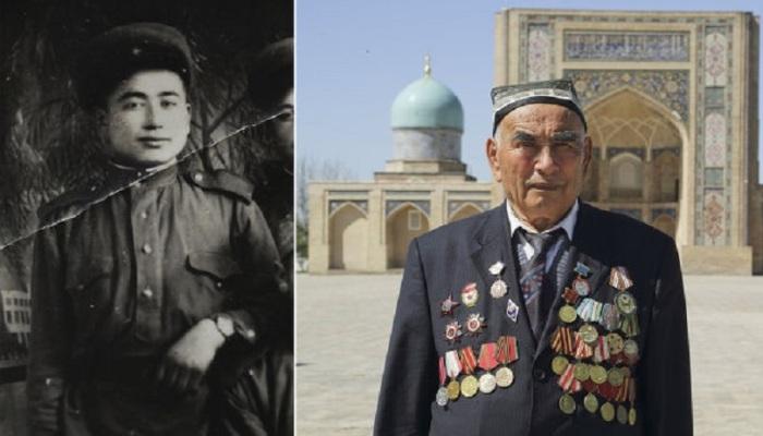 90-летний ветеран войны Узокбой Ахраев на площади Хаст-Имам в Ташкенте, Узбекистан.
