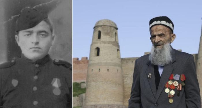 91-летний ветеран на фоне Гиссарской крепости неподалеку от Душанбе.