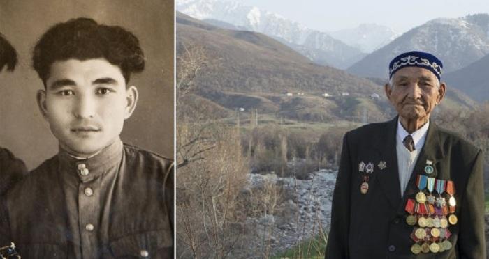 90-летний Тасыбаев на окраине города Талгар в Казахстане.