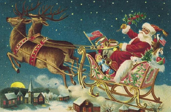 Санта, мчащийся с подарками к детворе.