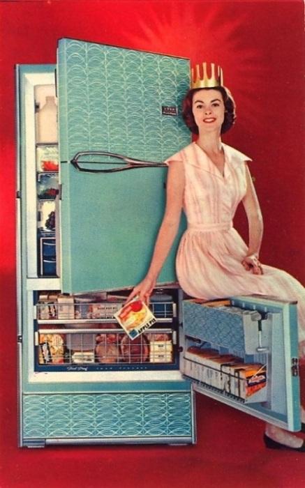 Рекламная открытка фирмы «FRIGIDAIRE», которая выпускала холодильники с сухой заморозкой.