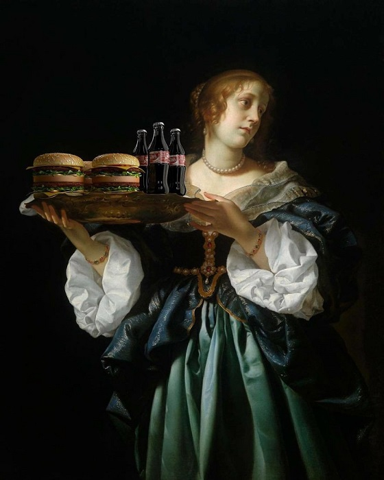 Для коллажа использована картина «Саломея с головой Иоанна Крестителя на блюде» итальянского художника Карло Дольчи (Carlo Dolci).