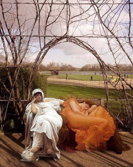 Для коллажа использованы картины «Фатисида Пророчица» и «Пылающий июнь» английского художника Фредерика Лейтона (Frederic Leighton).