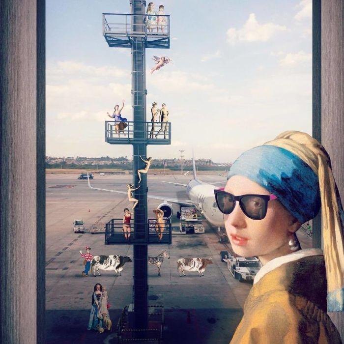 Для создания коллажа использовалось несколько картин, в том числе и «Девушка с жемчужной сережкой» художника Яна Вермеера (Jan Vermeer).