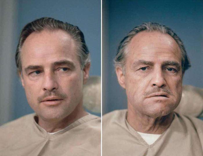 Марлон Брандо до и после нанесения грима для его роли в фильме «Крестный отец».