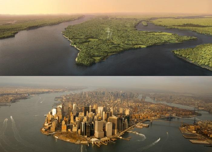 Манхэттен в 1609 году и сегодня.