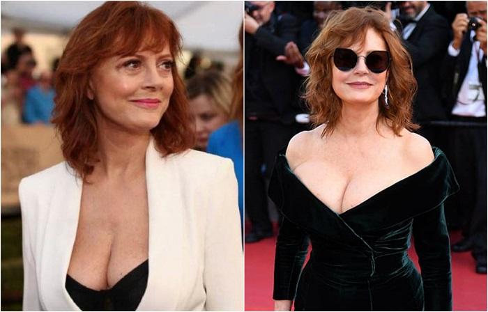 Сьюзан продолжает доказывать себе и всему миру, что глубокие декольте в 70 лет могут выглядеть соблазнительно и привлекательно.