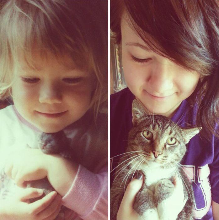 Котенок Чуй спустя 15 лет все так же неразлучен со своей маленькой хозяйкой.
