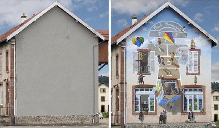 Счастливое детство на стене дома.