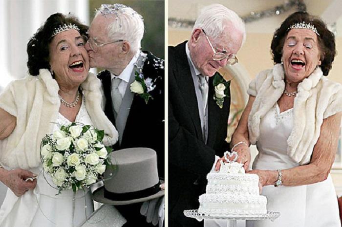 Одна из самых старых пар вступивших в брак в Великобритании. Молодожены понравились друг другу ещё в детском саду.