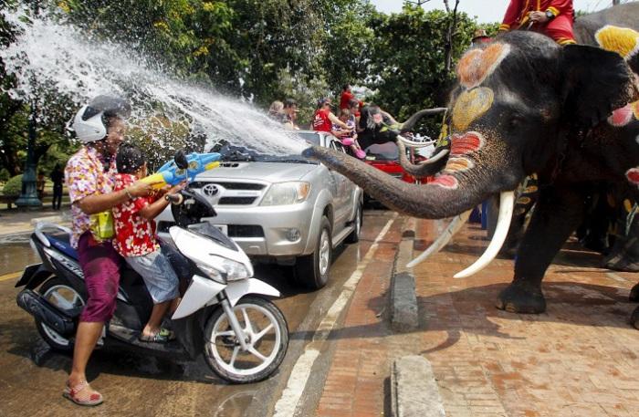 Слоны обливают водой сельских жителей во время празднования тайского Нового года, в провинции Аюттхая к северу от Бангкока, Таиланд.