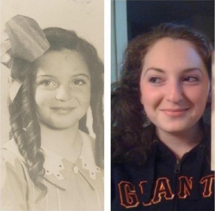 Поразительное внешнее сходство бабушки с внучкой.