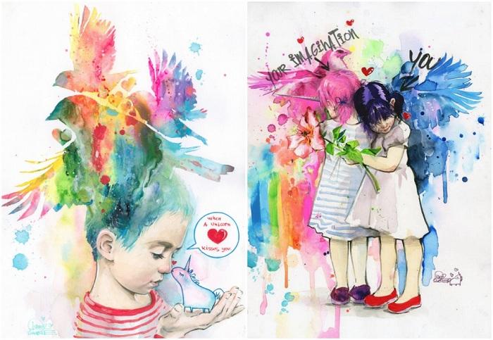 Картины русской художницы-концептуалиста Лоры Зомби — это соприкосновение наивного, доброго мира с жесткой реальностью.