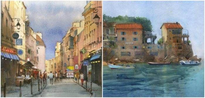 Особенность техники Сергея Курбатова заключается в том, что краска наносится на бумагу, предварительно смоченную водой. Уже написанный рисунок продолжает «жить» до полного высыхания.
