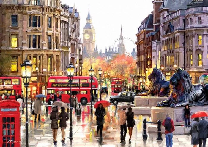 Работы британского художника Ричарда Макнейла (Richard Macneil) — словно экскурсии по красивейшим городам мира.