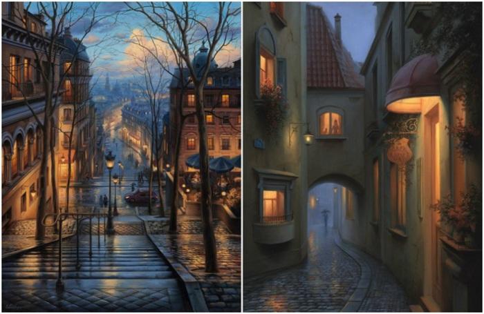 Для своих работ в качестве основы Евгений Лушпин берет привычные городские пейзажи, придавая им некоторой иррациональности.