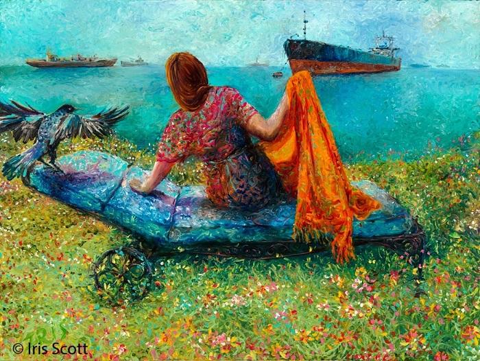 Художница Айрис Скотт (Iris Scott) рисует совершенно восхитительные картины, но делает это не с помощью кисти, а пальцами.