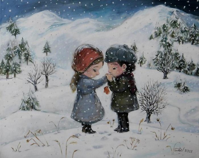 Смотря на работы современной грузинской художницы Нино Чакветадзе, ощущаешь тепло детских воспоминаний.
