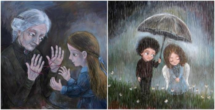 Сама иллюстратор говорит: «Все мы вышли из детства, и этот факт заставляет меня снова и снова рисовать то, что пережила сама, что оставило след в моей душе».