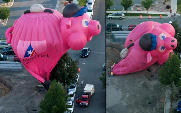 Воздушный шар, представляющий банк «Bank of American Fork», потерпел крушение на фестивале воздухоплавания в Прово, штат Юта, США.