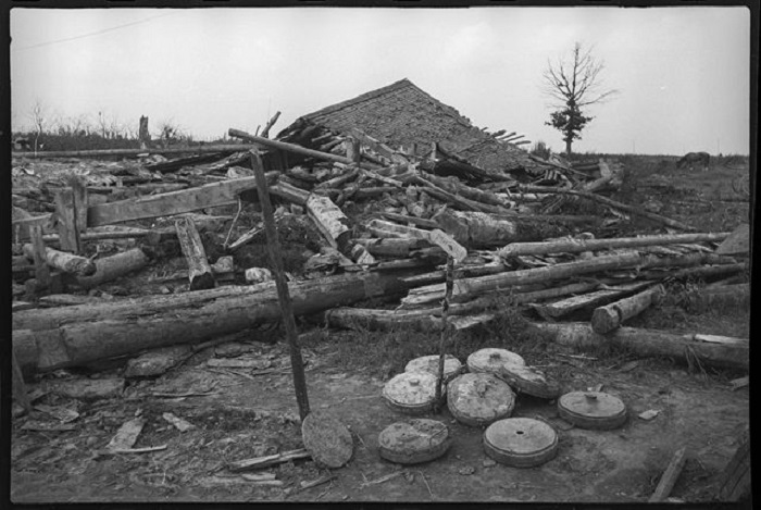 Деревня Лёшки после отхода немецких войск.