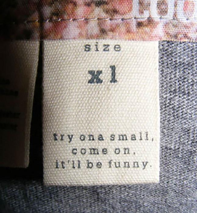 Размер XL. Примерь размер S. Давай, ну же! Будет весело.