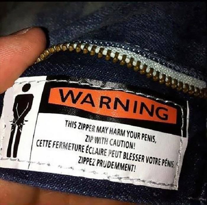 Предупреждение: молния может защемить тебе пенис. Застегивай осторожно!