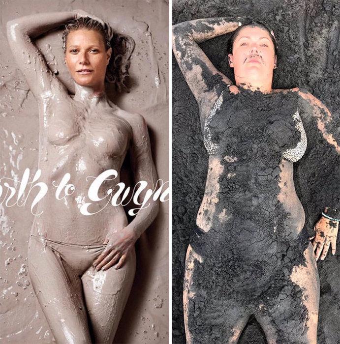 Селесте Барбер, как и актрисе Гвинет Пэлтроу, пришлось немало потрудиться, чтобы смыть всю грязь после фотосессии.