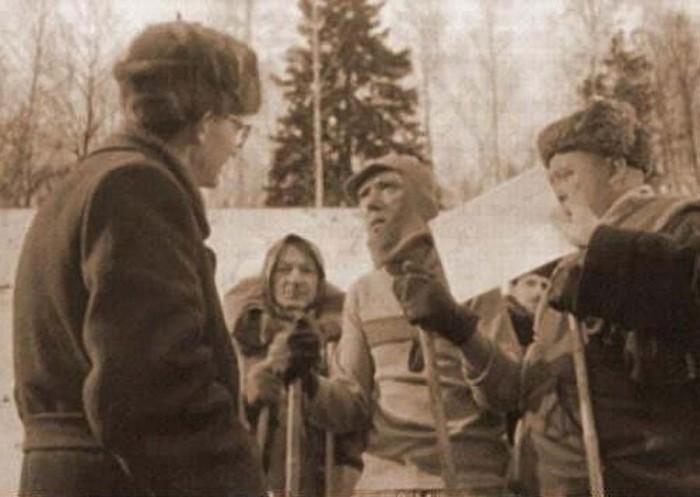 Леонид Гайдай в процессе съёмок.