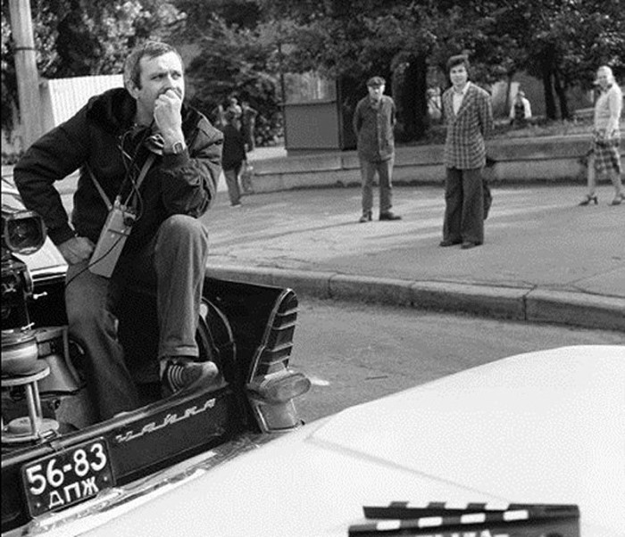 Никита Михалков на съемочной площадке.