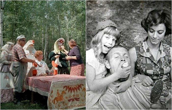 Кадры со съемок детских советских фильмов.