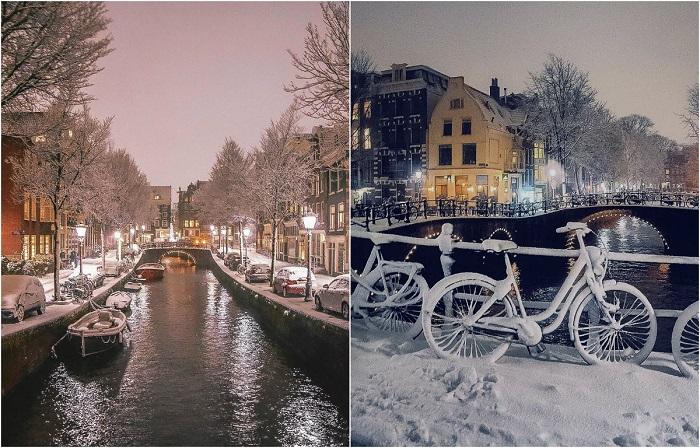 Волшебные фотографии, утопающего в снегу Амстердама.