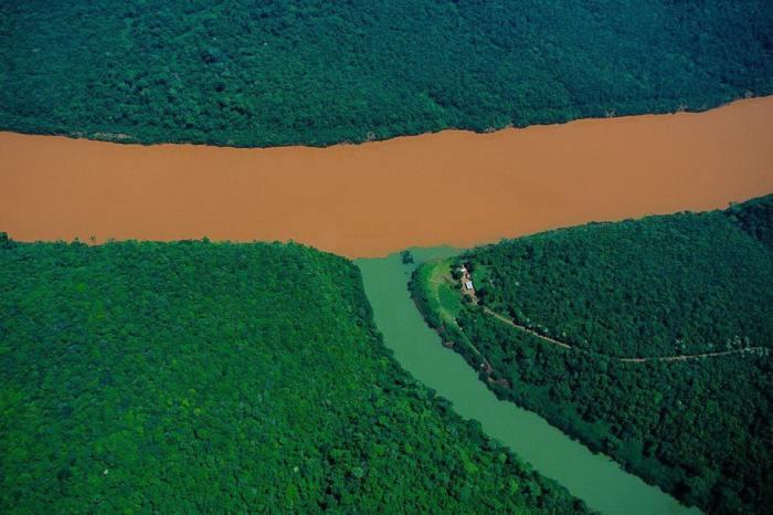 Коричневые воды Уругвая, окрашенные глиной, принимают зеленые притоки из джунглей.