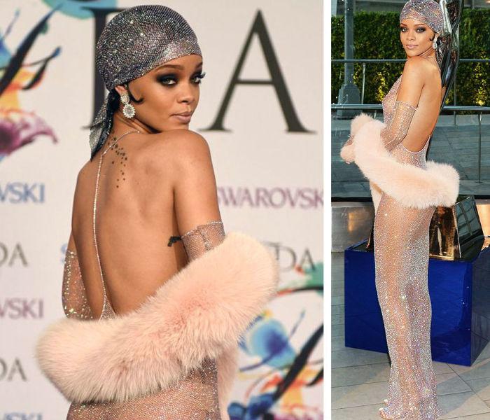 «Невозможно быть стильным, если ты не готов пойти на риск» - совершенно прозрачное блестящее платье из 216 тысяч кристаллов Swarovski.