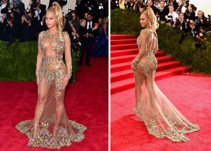 Смелое платье певицы, украшенное лишь стразами, оказалось самым «голым» на ежегодном балу.