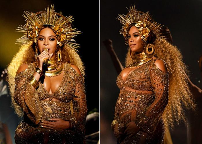 Беременность двойней не помешала самой популярной певице RnB примерить полупрозрачное платье с золотыми узорами в индийском стиле.