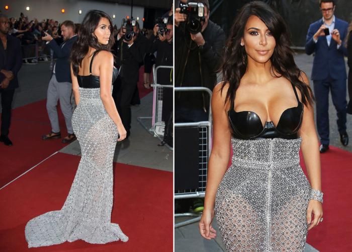 Один из откровенных нарядов американской звезды - кожаное боди с глубоким декольте и «алмазная» юбка.