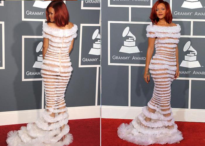 Певица не осталась без внимания публики, появившись в «свадебном» платье от Жан-Поля Готье.