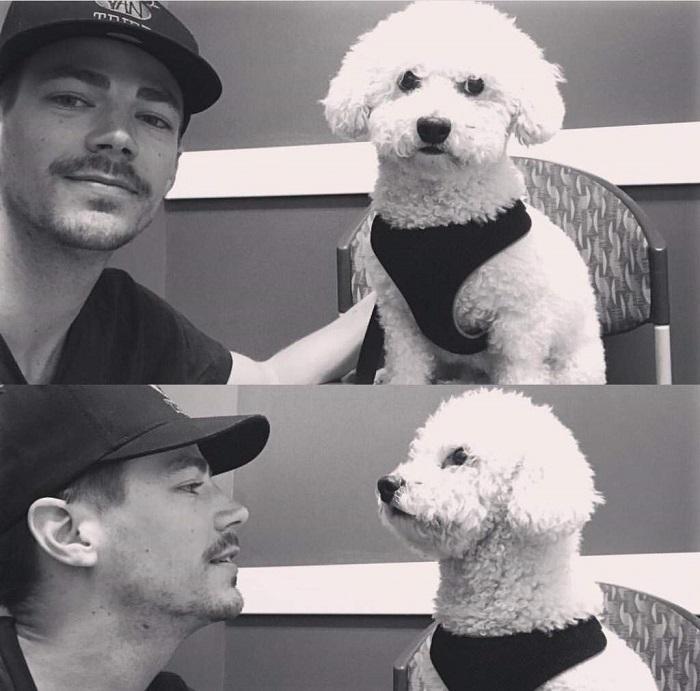 Американский киноактер со своим супергеройским псом Джетом.