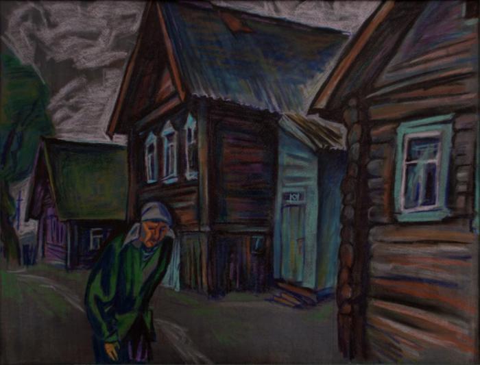 """Доляновский С.М. """"Деревня Старое Котчище"""", 1991. Бумага, пастель"""
