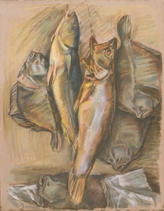 """Доляновский С.М. """"Натюрморт с рыбами"""", 2002. Бумага, пастель"""