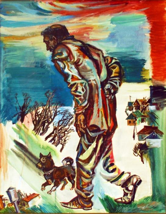 """Доляновский С.М. """"Сельский сторож"""", 1987. Бумага, акварель"""