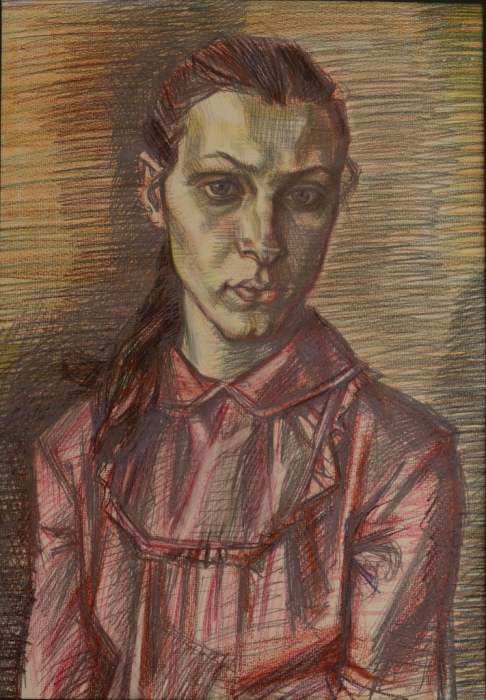 """Доляновский С.М. """"Оксана"""", 1986. Бумага, цветной карандаш"""