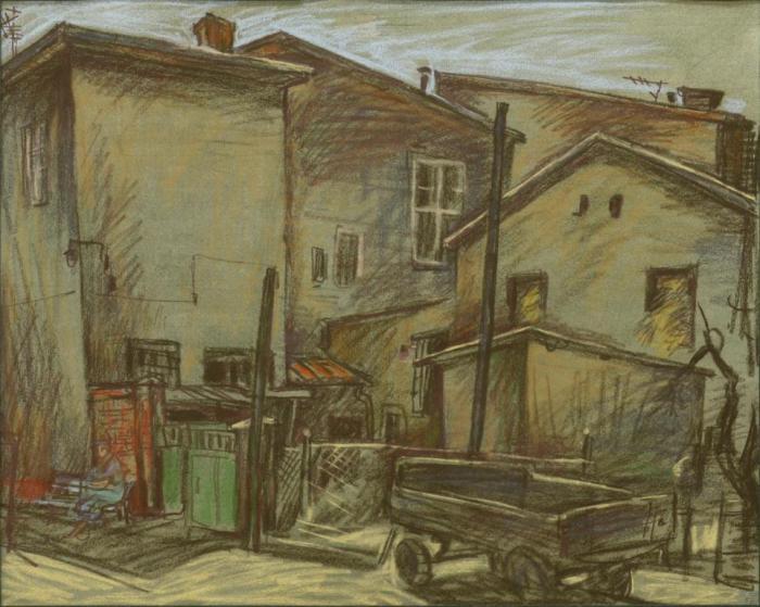 """Доляновский С.М. """"Подворье"""", 1987. Бумага, пастель"""