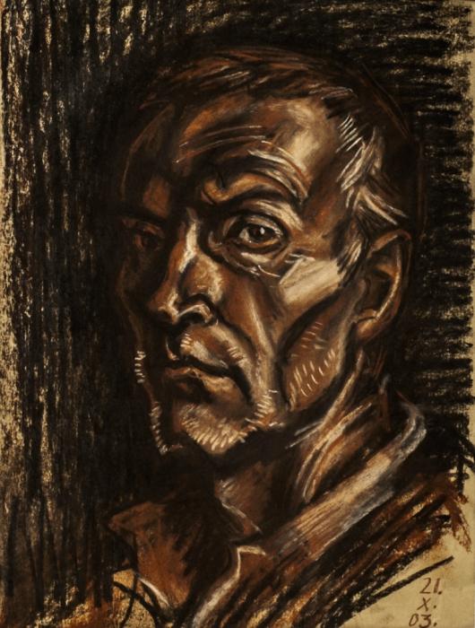 """Доляновский С.М. """"Автопортрет"""", 2003. Бумага, уголь, сангина"""