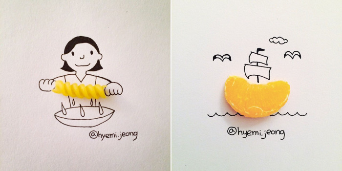 Забавные иллюстрации с пищевыми продуктами.